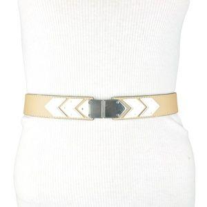 Beige Faux Leather Metallic Waist Adjustable One S